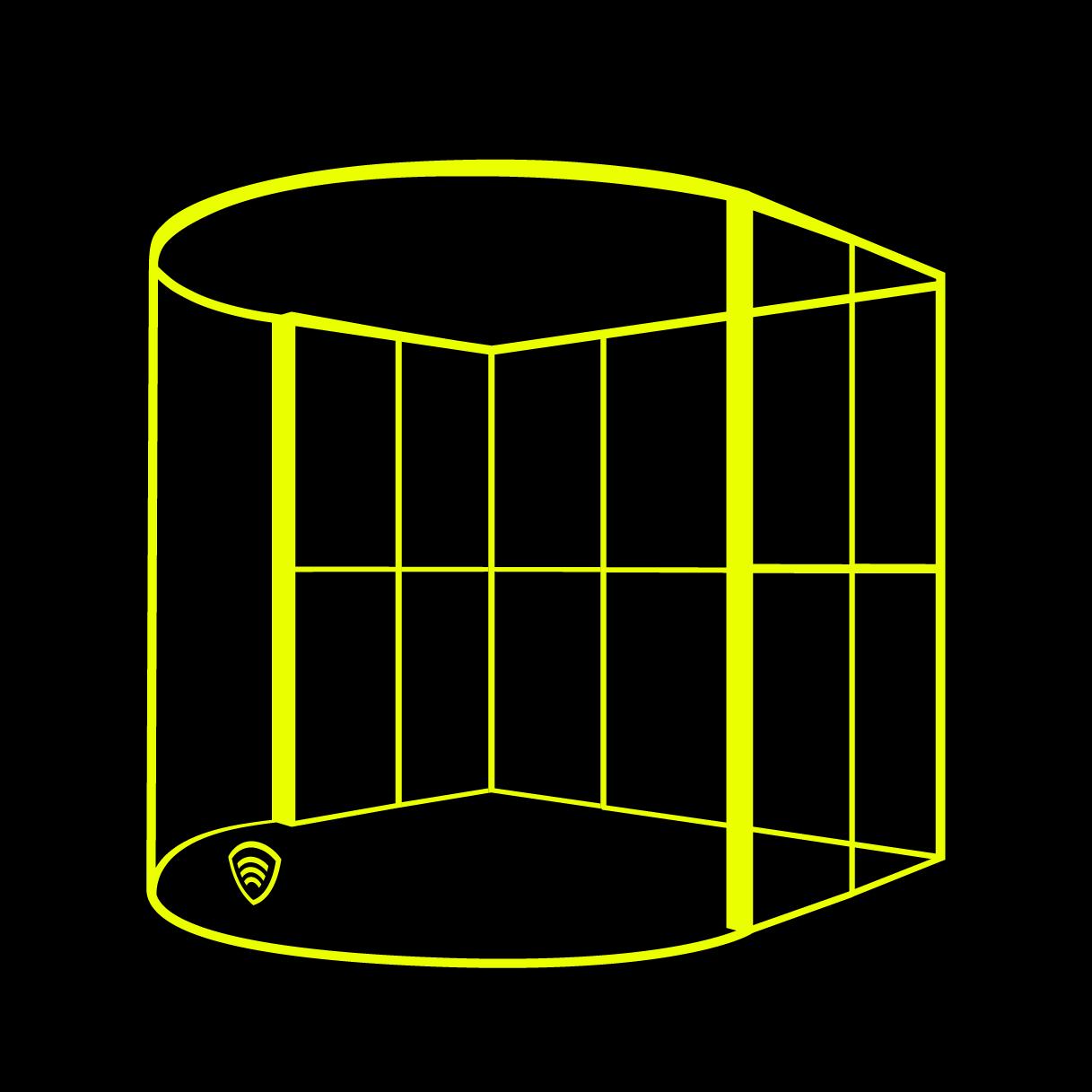 Hier ist ein Bild zu sehen von der Klangschild Schlagzeugkabine als Lineart